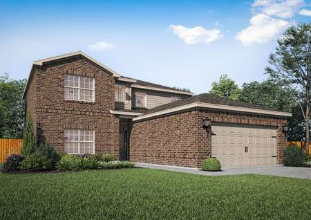 Rendering of two-story brick home with extended attached two-car garage and tan siding.