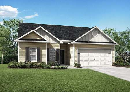 Alexander house plan front with green grass, single-story, and dual-car garage