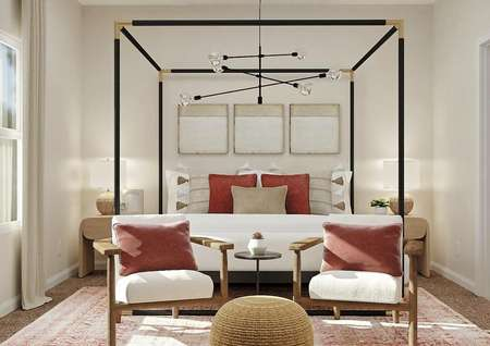 Rendering of the   master suite with large window and a poster bed with two armchairs at the   foot of it.