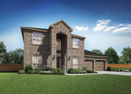 Redwood two-story home with brick siding, large arched opening to the front door, and landscapes front yard