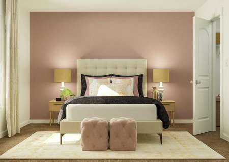 Rendering of girls secondary bedroom with   pink accent wall and dual side tables.