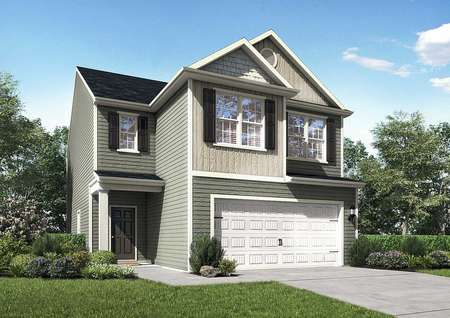 Burke house plan front with two stories, two-car garage, and multi-color paneling