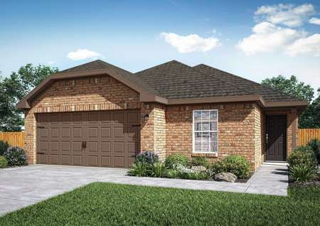 The renderings of the Medina floor plan with brick walls, a brown door and a brown attached garage.