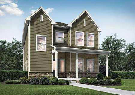 Artist rendering of the 2-story Smithfield plan with a covered front porch, multiple windows, sage colored siding with white trim and glass front door with side window and water table stone accents.
