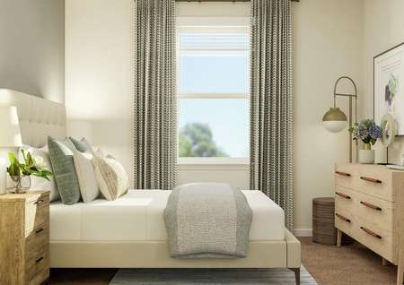 Rendering of a secondary bedroom in the   James showing a cream-colored bed and wooden nightstand against a gray accent   wall. On the opposite wall is a dresser, floor lamp and abstract artwork and   on the wall between is a window.