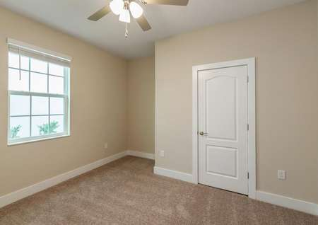Carpeted spare bedroom with a ceiling fan and large window.