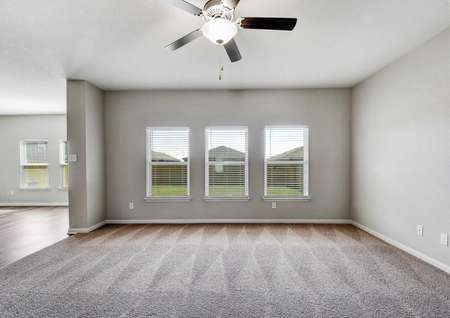 Shelby family room with three large white framed windows to the backyard, gray walls with white trim, and soft carpet
