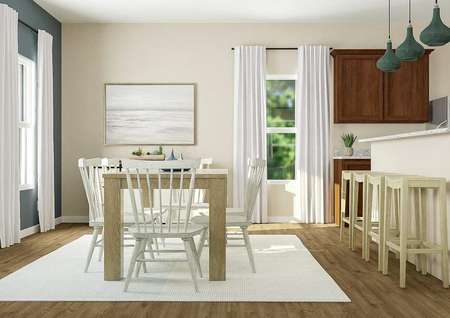 Rendering of a   dining room with wood-look floors, dining table and breakfast buffe adjacent   to a kitchen