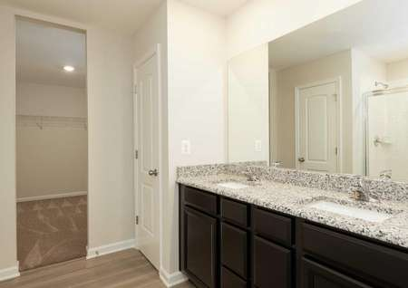 The Mid Atlantic Conway master bathroom shown with a dual granite sink and dark brown cabinets.