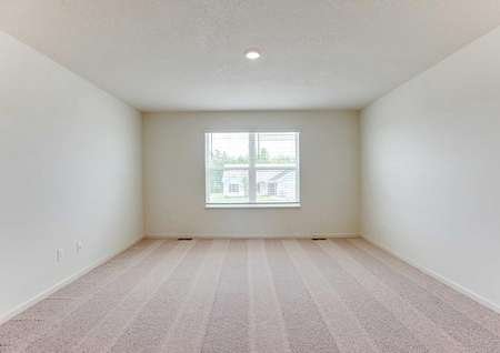 Hennepin bedroom with brown carpet, overhead light, and large white framed window