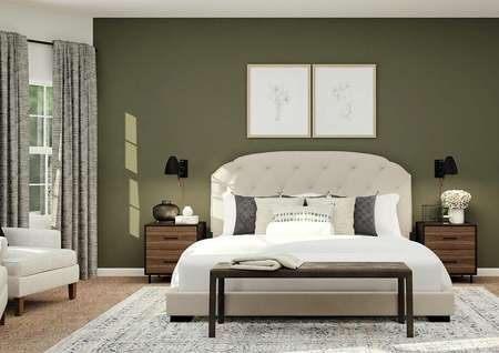 Rendering of the spacious master bedroom   with white bed, wood nightstands, with armchairs and windows visible on the   left