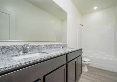 Laguna bathroom with gray granite countertops, under mounted white sink, and extended glass mirror