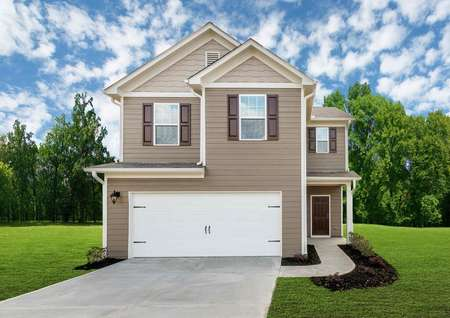 Burke completed two story home with white garage door, white trim, and brown shutters