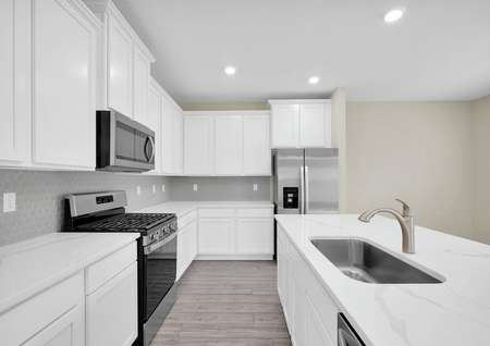 Chef-ready kitchen featuring recessed lighting, quartz countertops and all new stainless steel appliances.