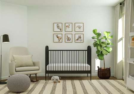 Rendering of a spacious bedroom decorated   as a nursery with a black crib, light-colored rocking chair, white shelving   and a striped rug