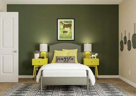 Rendering of secondary bedroom decorated   as children's bedroom, with gray bed and yellow nightstands