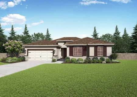 Rosebud design front view with two-car garage, single level, and landscaped yard
