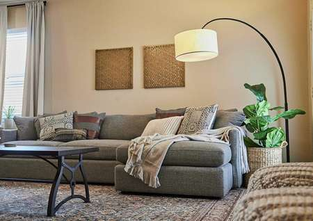 Staged living room with a gray couch and standing lamp.