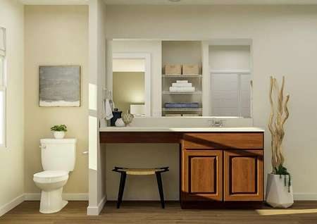 Rendering of   spacious master bath with a window and toilet on the left, brown cabinet   vanity in the middle and the edge of the tub on the right.