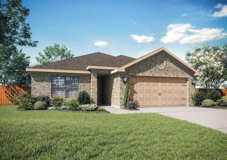 Rio Grande finished single-story home exterior with landscaping, two-car garage, and one floor