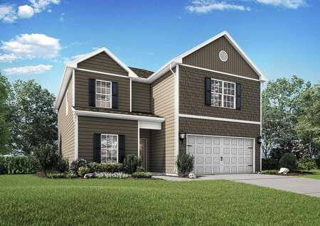 Potomac finished two-story home rendering with green landscaped yard, dark shuttered windows, and white 2 car garage door