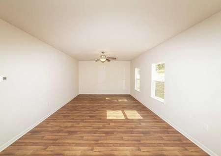Vinyl wood-style flooring in the living room of the Chatuge model plan