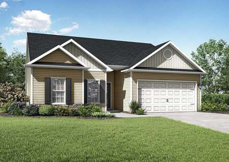 Alexander single-story house plan front with grassy yard, two-car garage, and brown siding