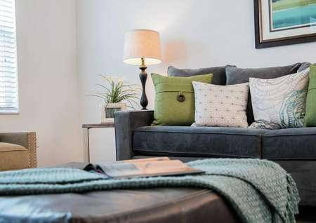 Sea Forest Beach Club model home with dark gray sofa with green and light colored pillows, throw blanket with magazine on it, and framed painting on the wall
