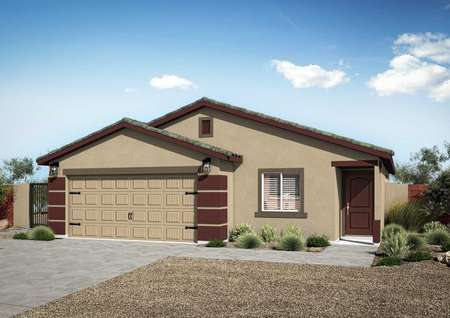 Exterior rendering of the Taos floor plan with tan and maroon paint, tile roof, 2-car garage