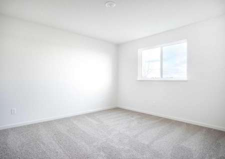 Hennepin bedroom with white baseboards and white window frame, gray carpets, and can light