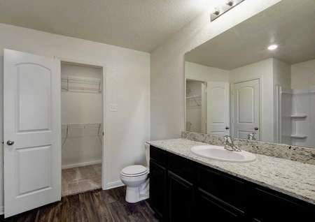 Pecan master bath with extended granite counter, white fixtures, and walk-in closet