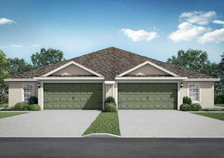 Lido Key new home rendering with single story, two car garage door, and landscaped yard