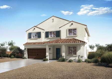 Venice floor plan exterior rendering with light color siding, brown trim, and landscaped yard