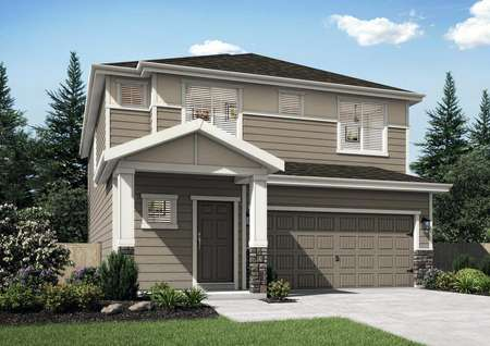 The Northwest Oak rendering of the front exterior of this two story home with attached garage.