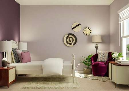 Rendering of a bedroom with a twin bed,   nightstands, velvet chair and table.