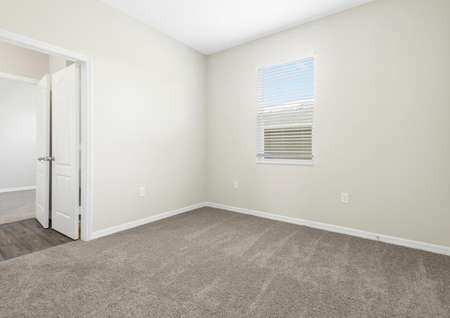 Carpeted guest bedroom with one window.