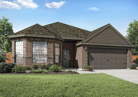 Michigan new home plan exterior with dark accent paint, landscaped yard, and two-car garage