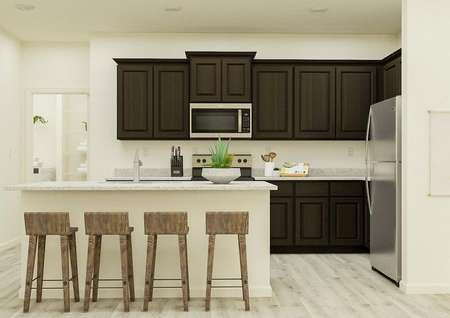 Rendering of the kitchen in the   Princeton, which has dark brown cabinets, stainless steel appliances, granite   countertops and an island with four stools.