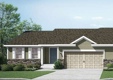 Rendering of the Morrison Twinhome, a one-story home with a basement, tan siding with blue-gray door, white trim and shutters, stone accents.