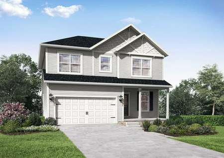 The Mid Atlantic Jordan rendering of two story home with attached garage.