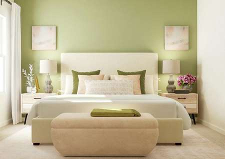 Rendering of the spacious master bedroom   with a large cream-colored bed and two nightstands against a green accent   wall. On the left a window with white curtains.