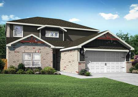 The Murray is a two-story home with siding, brick and a covered front entryway.