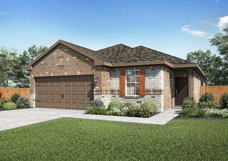 Jasper exterior house rendering with brown two car garage, green grass, stone finished walls