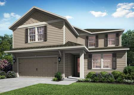 Two-story home with brown siding, front yard landscaping and multiple spacious windows.