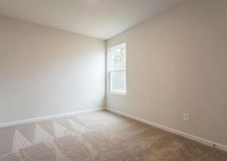 Guest bedroom with window and carpet.