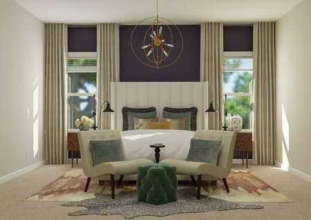 Rendering of a large master bedroom   showing a bed between two windows. Two armchairs sit at the foot of the bed.