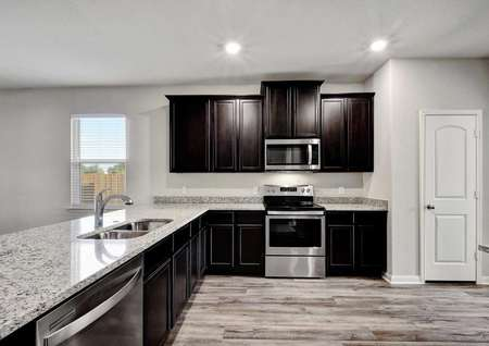 Fannin new home kitchen with dark wood cabinets, new stainless steel appliances, and walk-in pantry
