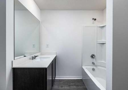 Sizable guest bathroom with plenty of countertop space and a bathtub.