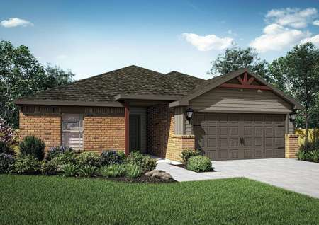 Renderings of the Crimson Lake Estates floor plan with brick walls, a grass front yard and a decorative attached garage.