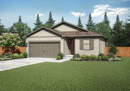 Arapaho new home rendering exterior with brown shutters, two-car garage, and paved driveway